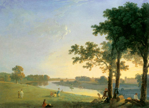 View of Syon House across the Thames near Kew Gardens (c. 1760) by Richard Wilson Oil on canvas, 104 x 139 cm. Neue Pinakothek, Munich