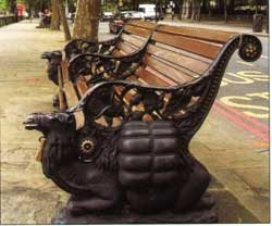 The magnificent cast-iron camel-styled benches on the Victoria Embankment