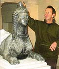 Melvyn Rodda of Rupert Harris Conservation prepares to take a mould of the Chiswick House sphinx.