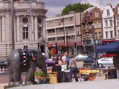 An elephant on location in Brixton